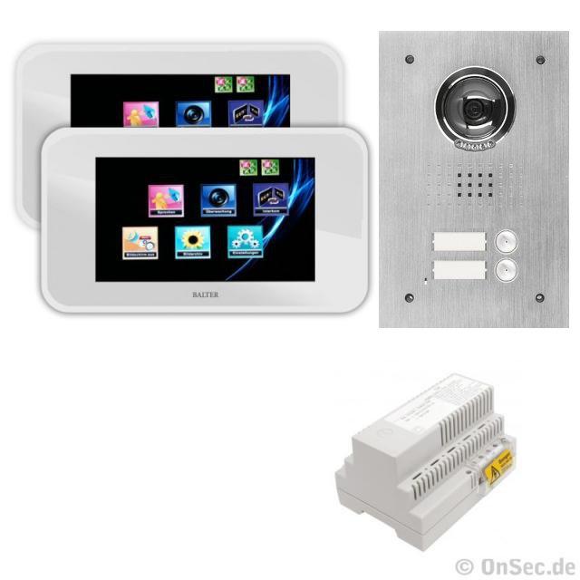 Balter 2-Familienhaus Video Türsprechanlage mit 2 x Touchscreen Monitore, 4-Draht Technik - BMV-ON12